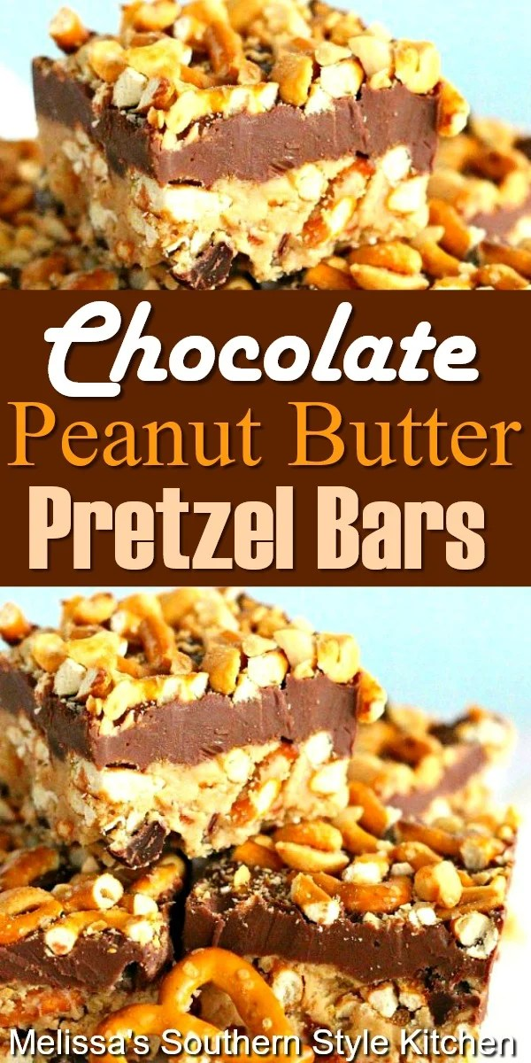 Sweet and salty Chocolate Peanut Butter Pretzel Bars #chocolatebars #peanutbutterbars #pretzels #desserts #dessertfoodrecipes #southernfood #southernrecipes #pretzelbars