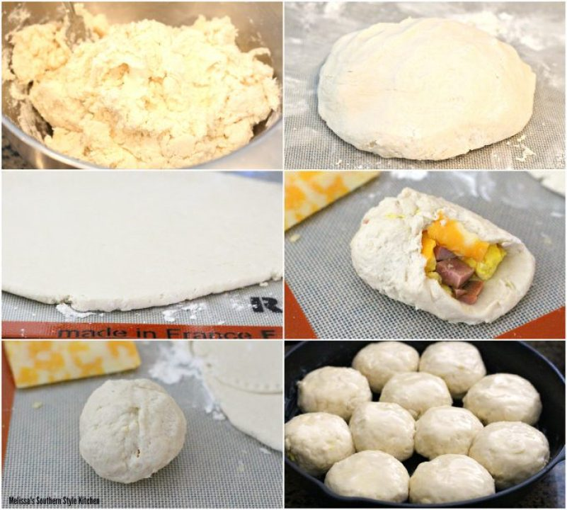 Step-by-step images of preparation of Stuffed Ham And Egg And Cheese Biscuits