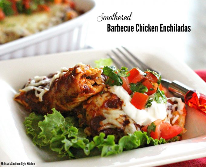 Smothered Barbecue Chicken Enchiladas -