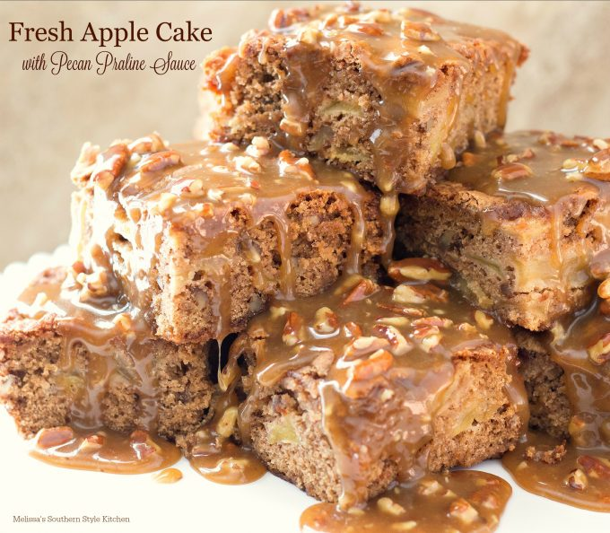 Fresh Apple Cake With A Pecan Praline Sauce