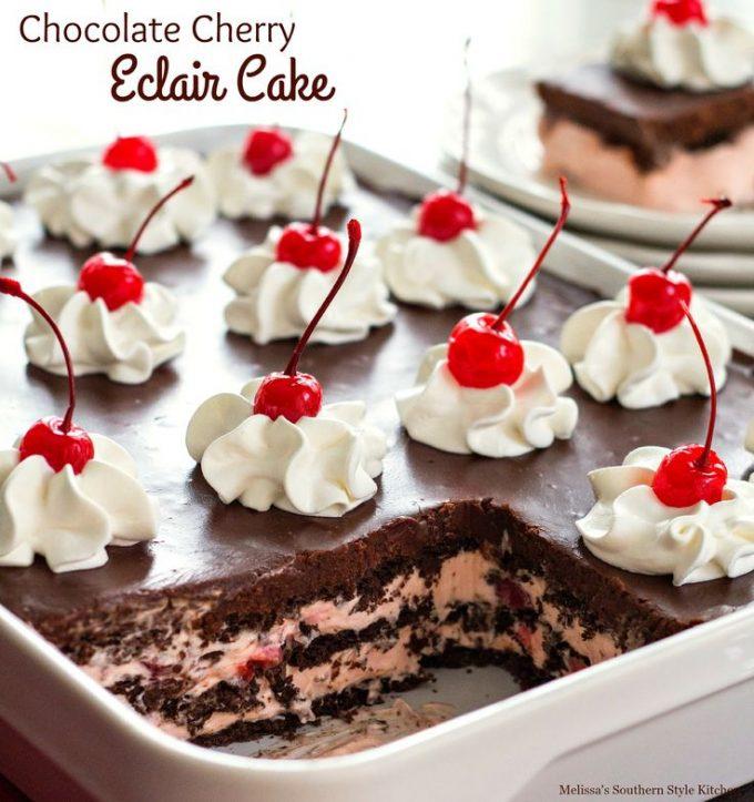 Chocolate Cherry Eclair Cake