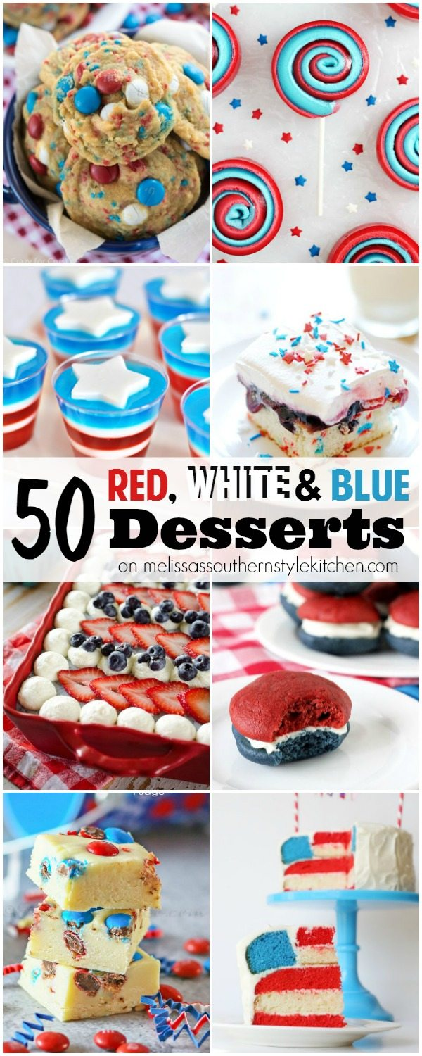~50 Delicious Red, White and Blue Desserts HERO