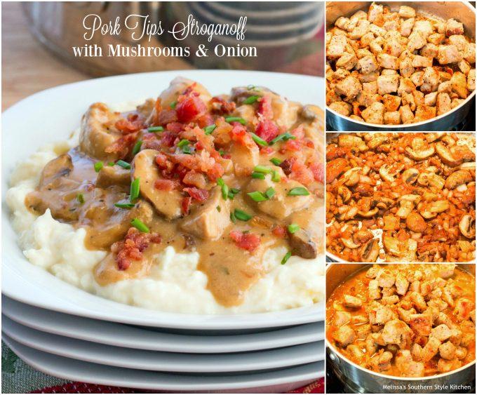 Pork Tips Stroganoff with Mushrooms and Onion