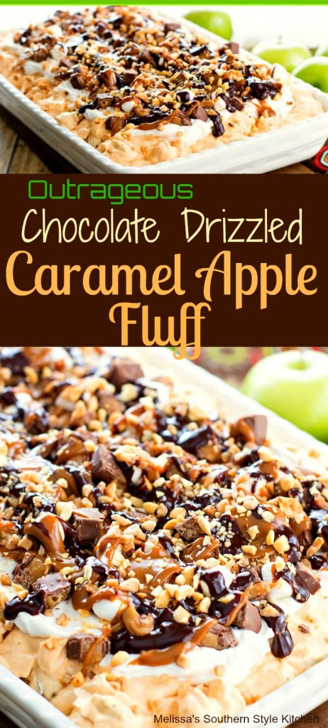 Outrageous Chocolate Drizzled Caramel Apple Fluff