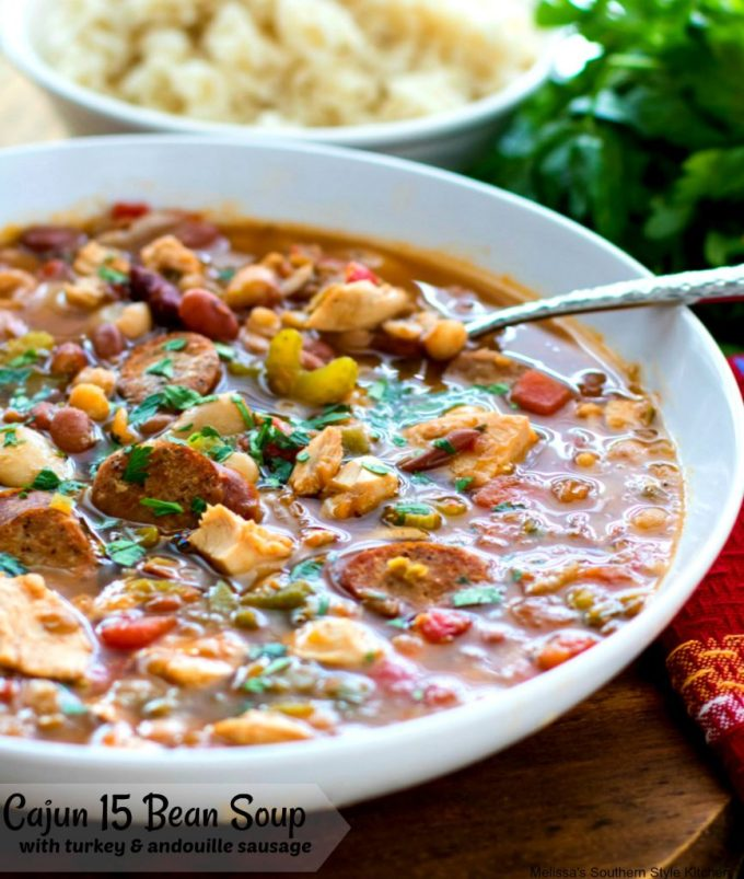 Cajun 15 Bean Soup with Turkey and Andouille Sausage