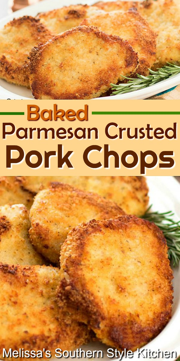 Enjoy these crispy flavorful Baked Parmesan Crusted Pork Chops made with ease in the oven #bakedporkchops #porkrecipes #pork #bakedporkchops #parmesancrustedporkchops #ovenfried #friedporkchops #Parmesan #dinnerideas #dinner #southernfood #southernrecipes