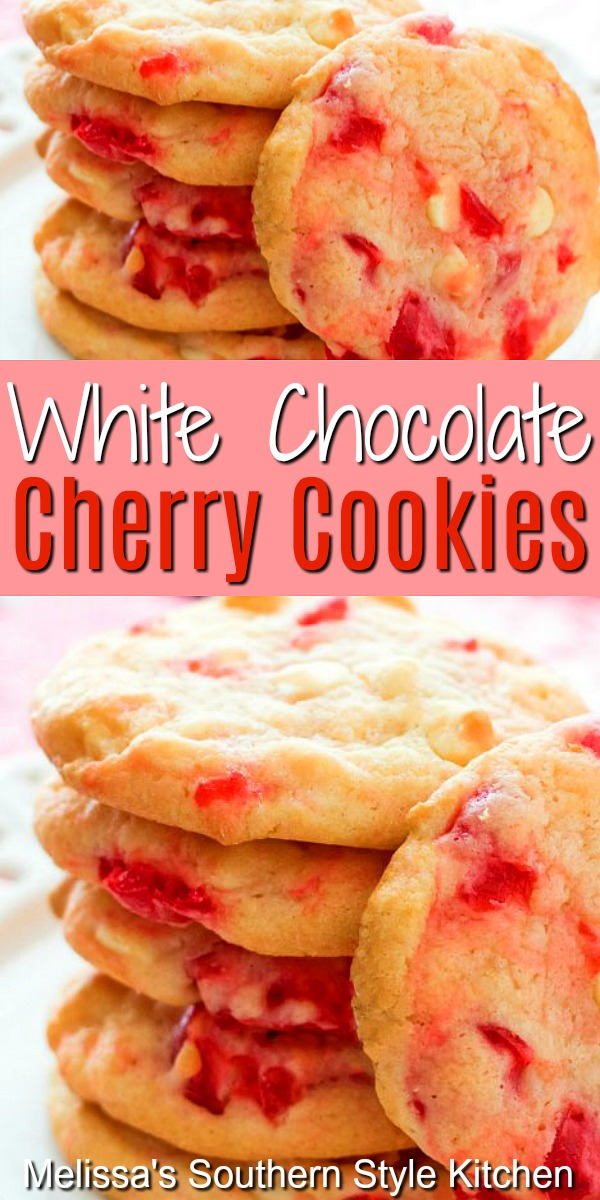 White Chocolate Cherry Pudding Cookies #whitechocolate #cookies #cherrycookioes #maraschinocookies #holidaybaking #desserts #dessertfoodrecipes #southernfood #southernrecipes #cherries