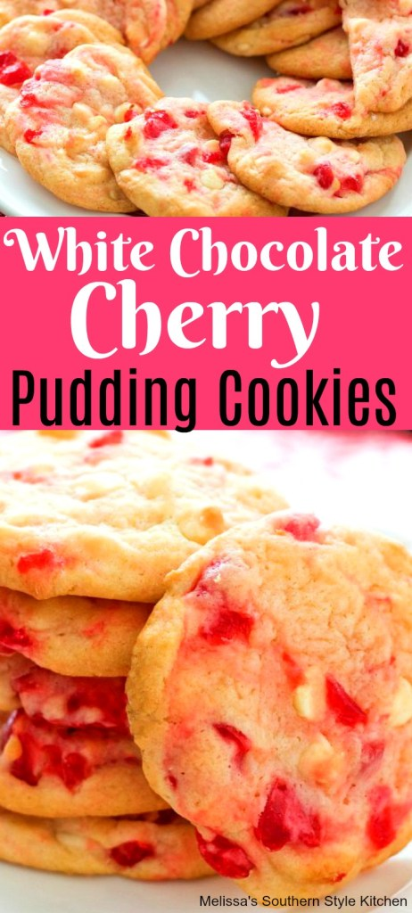 White Chocolate Cherry Pudding Cookies