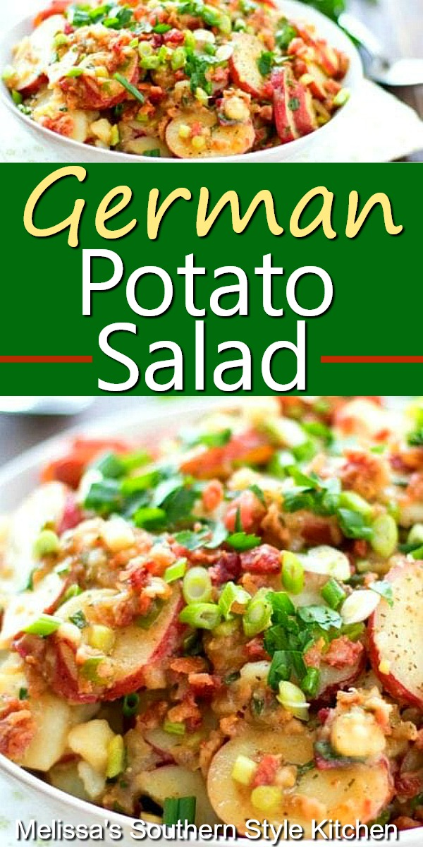 German Potato Salad #germanpotatosalad #potatosalad #potatosaladrecipes #salads #potatoes #sidedishrecipes #picnicfood #memorialday #july4threcipes #southernfood #southernrecipes