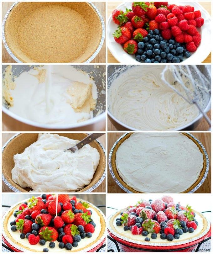 No Bake Triple Berry Icebox Pie