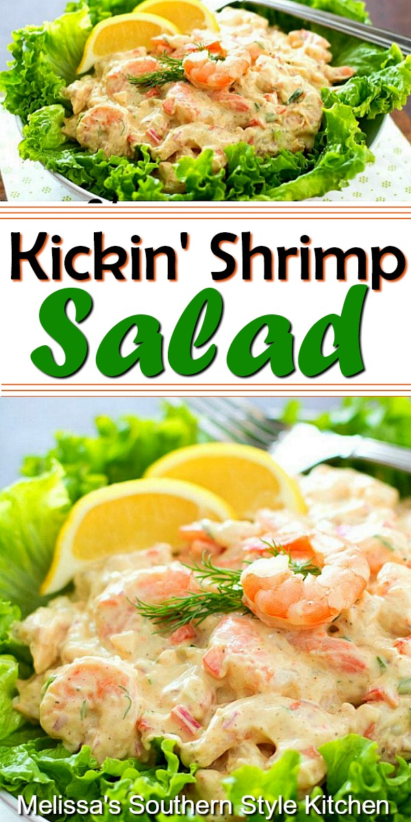 Seafood fans will flip for this Kickin' Shrimp Salad #shrimp #shrimpsalad #shrimprecikpes #salads #picnicfood #appetizer #seafood #dinnerideas #partyfood #easyrecipes #southernfood #southernrecipes