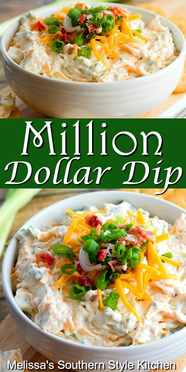Million Dollar Dip is perfect for year-round snacking #milliondollardip #diprecipes #appetizer #bacondip #easyrecipes #partyfood #tailgating #recipes #southernfood #southernrecipes