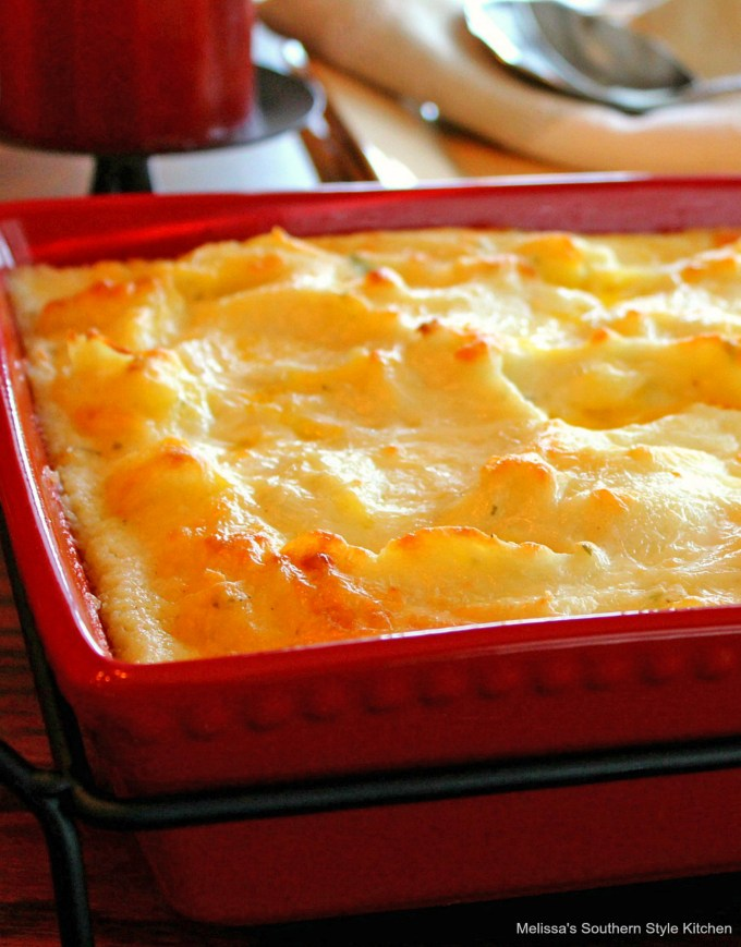 baked mashed potatoes in a baking dish