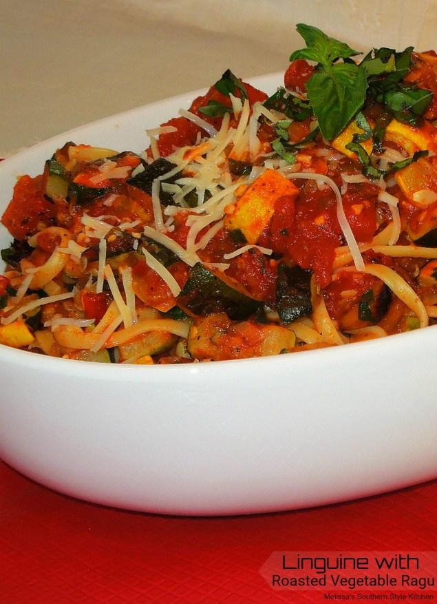 Linguine With A Roasted Vegetable Ragu
