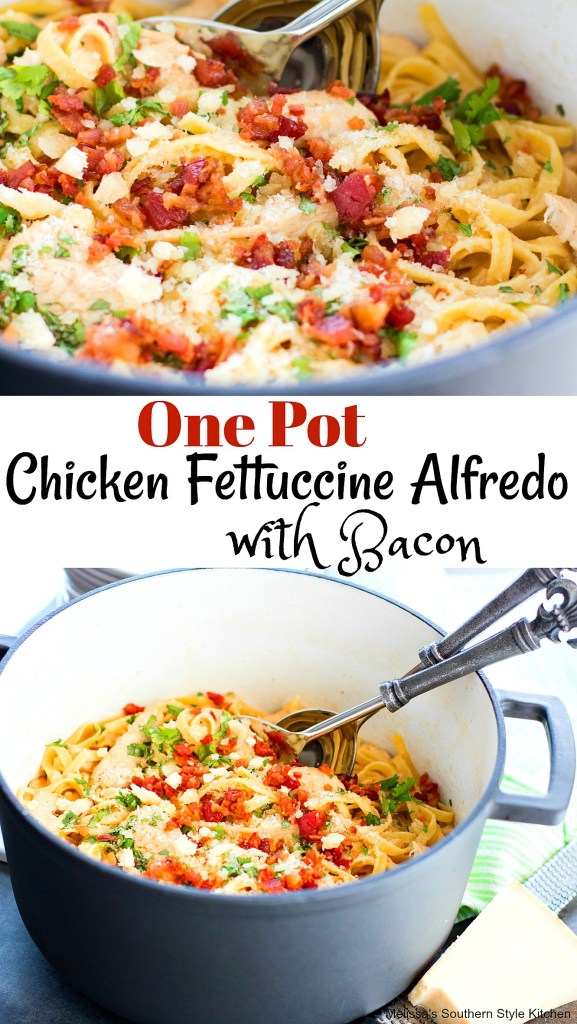One Pot Chicken Fettuccine Alfredo with Bacon