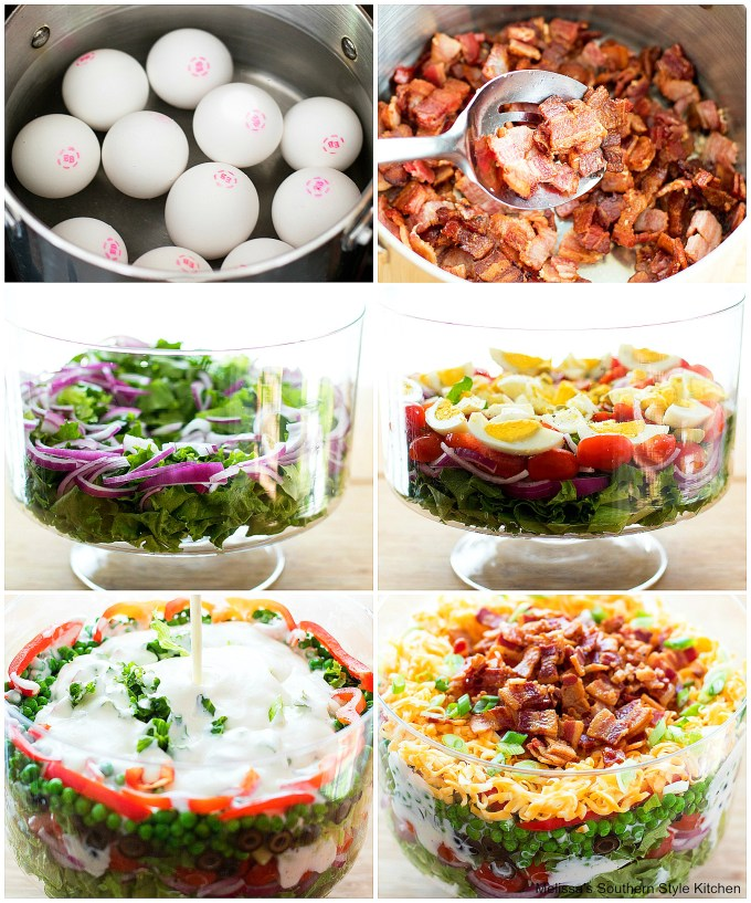 Step-by-step images to prepare Seven Layer Salad