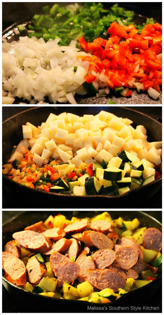 step-by-step images how to prepare potato hash in a skillet