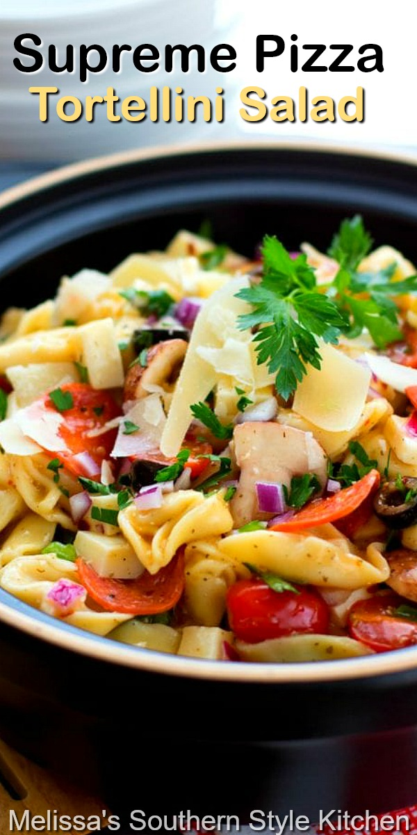 This easy Supreme Pizza Tortellini Salad packs plenty of pizza flavors perfect for enjoying as an entree or a side dish #cheesetortellini #pastasalad #pizza #pizzapasta #pastarecipes #pizzarecipes #dinnerideas #dinner #easyrecipes #food #southernfood #saladrecipes #salads #tortellini #southernrecipes