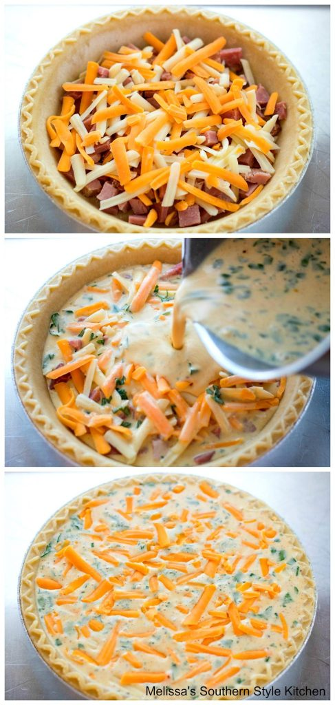 step-by-step images of quiche with pie crust cheese and ham