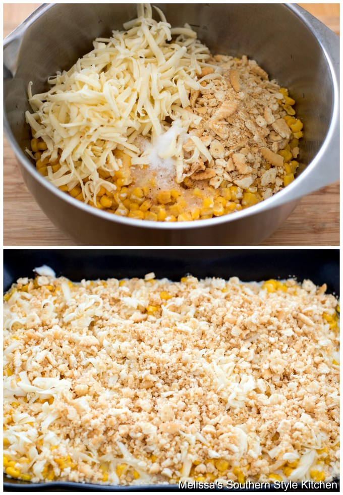 ingredients for corn casserole in a bowl
