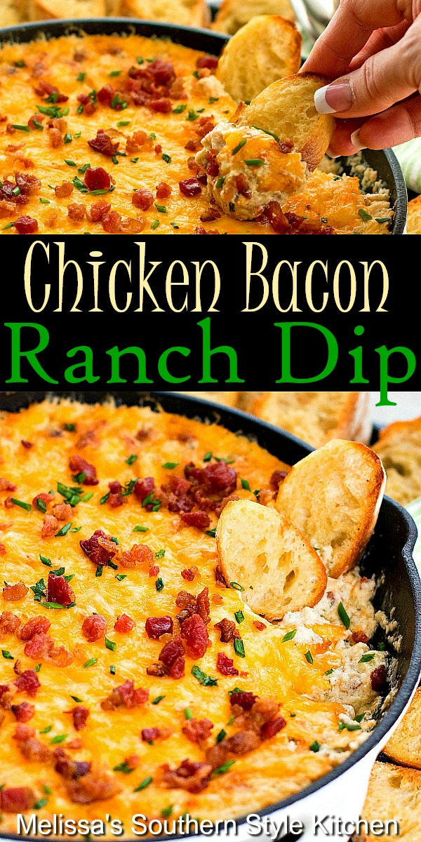 This gooey Chicken Bacon Ranch Dip is practically a meal in itself #chickenbaconranch #chickenbacondip #bacondip #diprecipes #ranchdressing #easychickenrecipes #appetizers #bacon #southernfood #southernrecipes