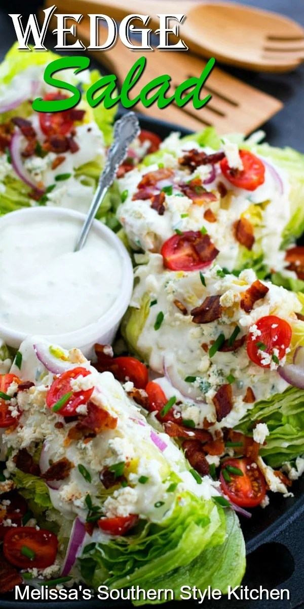 This Classic Wedge Salad with homemade bleu cheese dressing is the perfect side dish for any meal #wedgesalad #saladrecipes #salads #bleucheesedressing #sidedishrecipes #grilling #dinnerideas #dinner #Southernrecipes #southernfood #bacon