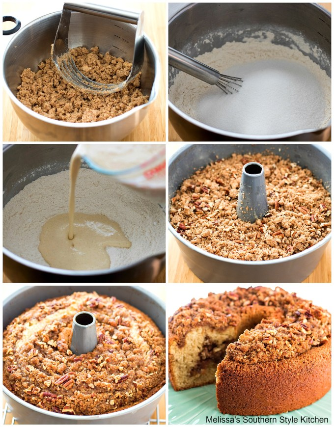 step-by-step images with ingredients to make cake