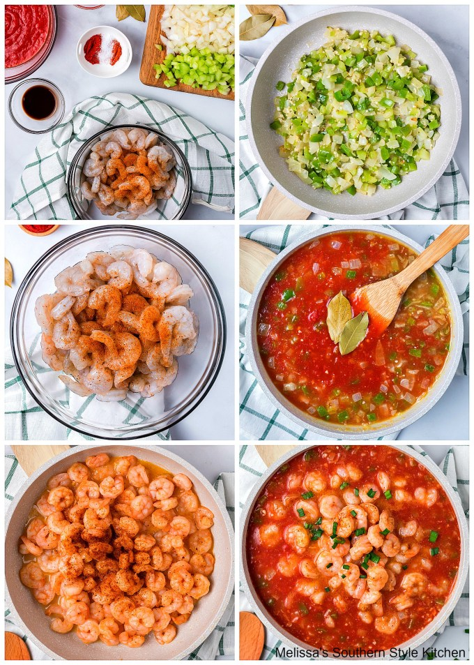 ingredients for shrimp creole in a skillet