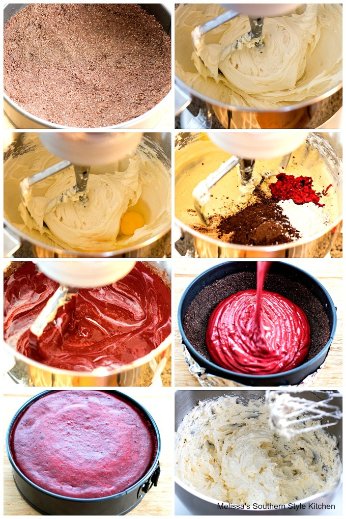 Red Velvet Cheesecake ingredients in a mixing bowl