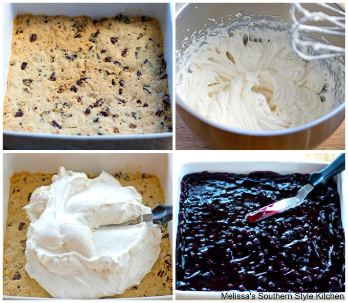 Step-by-step preparation images and ingredients to make Blueberry Yum Yum