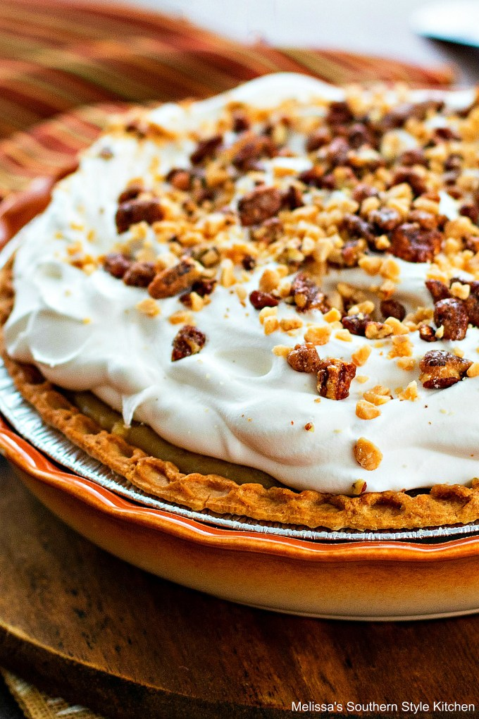 Whole caramel pie with whipped cream, pecan and bits-o-brickle