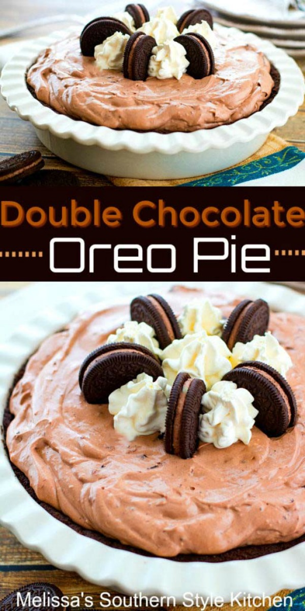 This dreamy Double Chocolate Oreo Pie requires no cooking at all #doublechocolatepie #oreopie #nobakepierecipes #chocolate #desserts #dessertfoodrecipes #southernreipes #southernfood #Oreos #chocolatepie