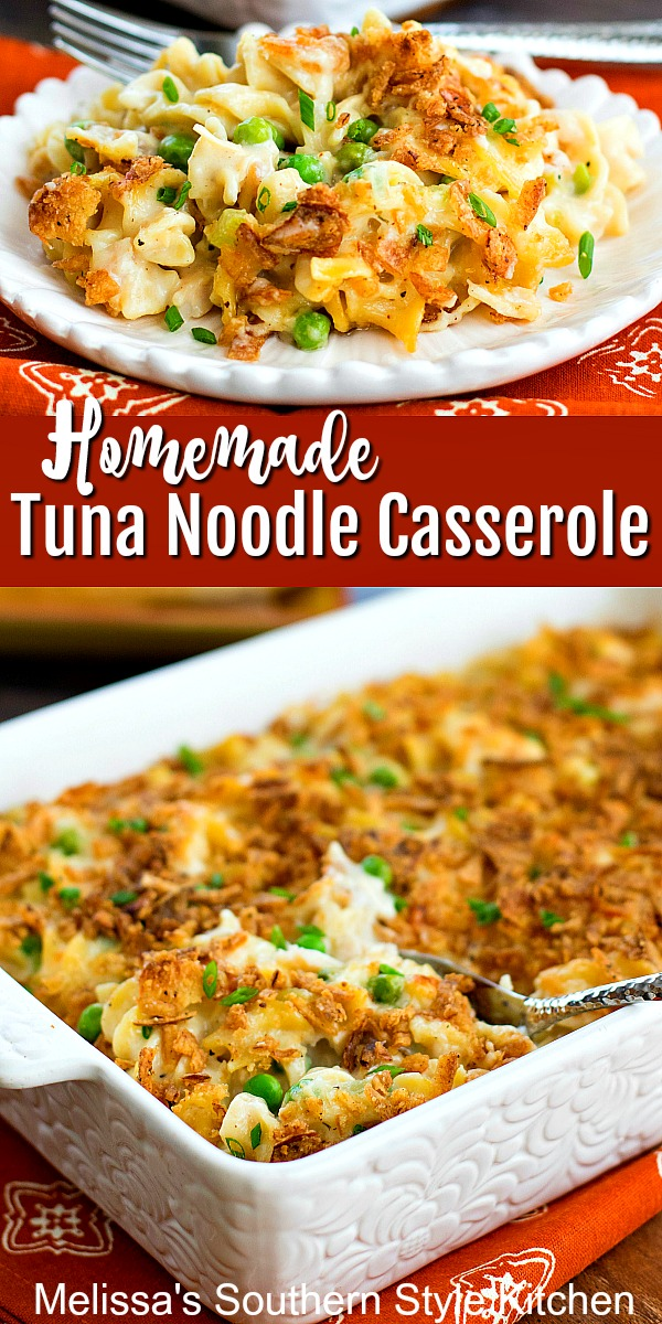 No canned soups needed to make this Homemade Tuna Noodle Casserole #tunacasserole #tunanoodlcasserole #casseroles #tunarecipes #seafood #casserolerecipes #pasta #dinnerideas #dinner #southernfood #southernrecipes