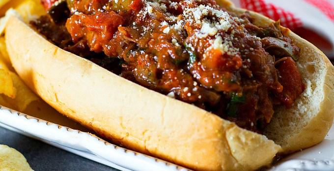 Slow Cooked Italian Beef Hoagies