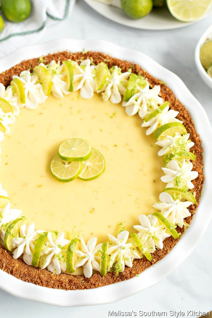 Key Lime Pie with whipped topping and lime slices