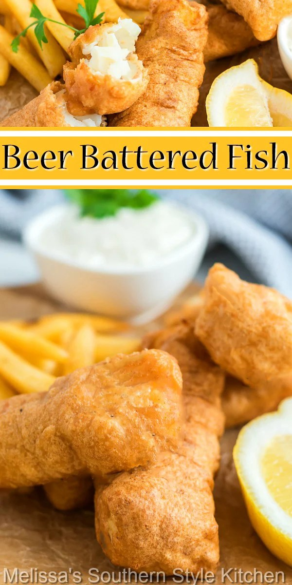 You'll create a fish and chips feast with this crispy golden Beer Battered Fish #beerbatteredfish #beerbatter #friedfish #cod #seafoodrecipes #bestbeerbatterrecipe #maindish #dinnerideas #southernfood #southernrecipes