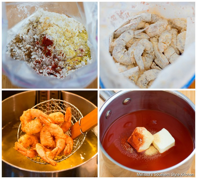 Step-by-step preparation images and ingredients for buffalo shrimp