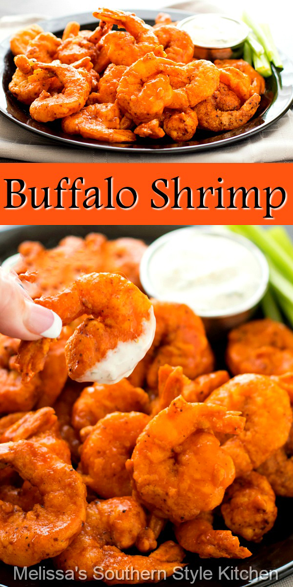 These fiery Buffalo shrimp will bring the heat to your appetizer and dinner menu #buffaloshrimp #shrimprecipes #seafood #appetizers #buffalosauce #dinnerideas #dinner #food #recipes #seafoodrecipes #shrimp #southernfood #southernrecipes