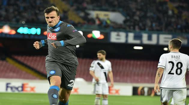 Napoli vs Legia Varsavia Chiriches esulta al gol poi annullato