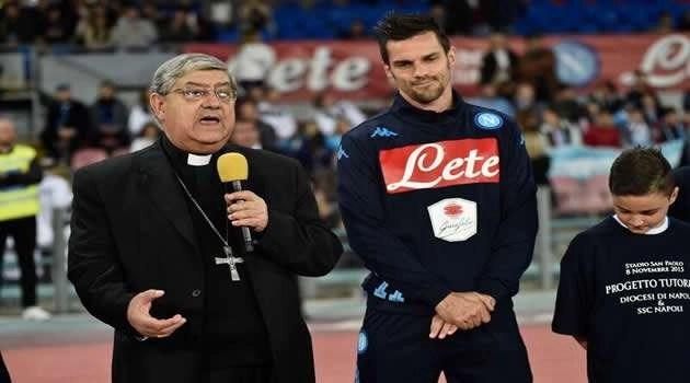 Napoli vs Udinese, il Cardinale Sepe con Cristian Maggio