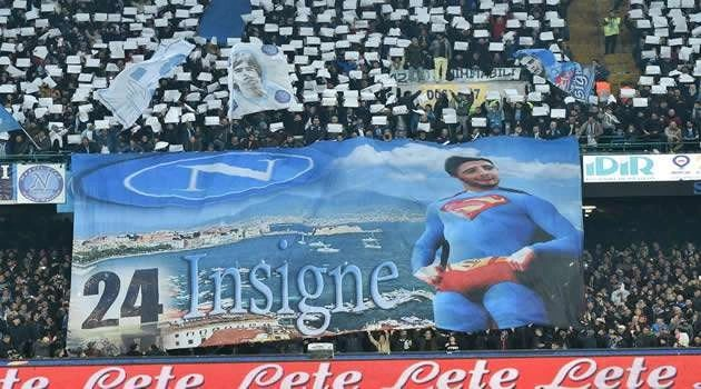 Napoli vs Inter - striscione Insigne