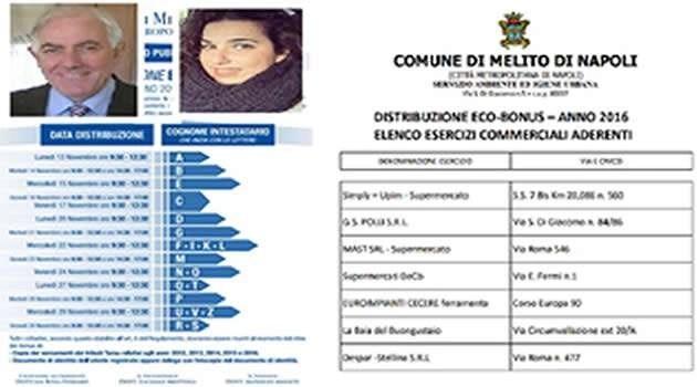 MELITO: ECOBONUS IN DISTRIBUZIONE AL COMUNE