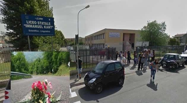 Melito - liceo Kant - incidenti stradali fiori in strada