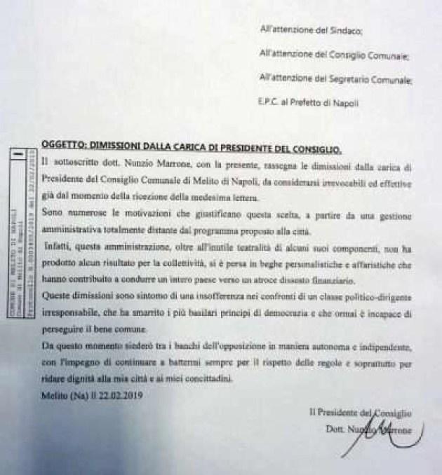 Melito - protocollo dimissioni Nunzio Marrone