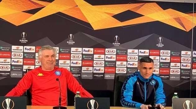 """Ancelotti e Callejon in conferenza credono nell'impresa: """"ci vorrà coraggio, cuore e intelligenza""""."""
