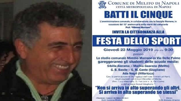 """""""Batti il 5"""", giovedì festa dello sport a Melito in ricordo di Mimmo Marrone"""