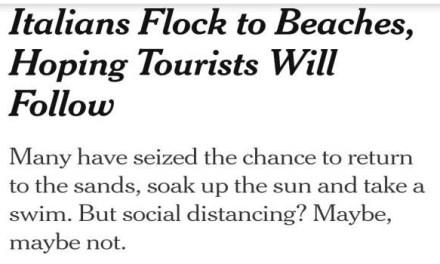 """Le spiagge di Varcaturo sul giornale statunitense:""""Gli italiani affollano le spiagge, sperando che i turisti facciano lo stesso"""""""