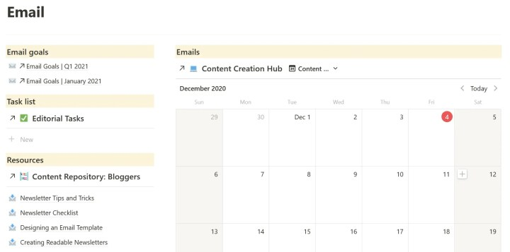 notion for email campaign planning and content