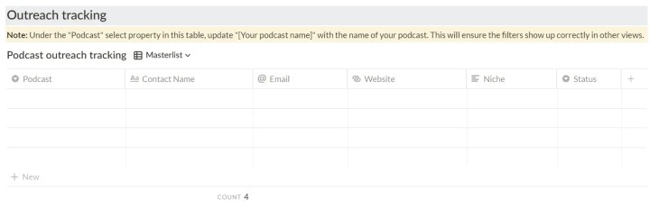 notion podcast dashboard guest post tracker screeshot