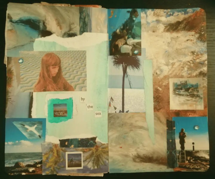 top down photo of a collage featuring ocean imagery and women